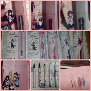 I was super excited when I saw these on yesstyle.com! I saw a YouTube review on these and she said she only got them in Japan herself. I'm soooo happy that Yes Style imported them from Japan! I'm not going to say how much I paid for them Lol I had a few diffculties with Sailor Mars' brush pen liner....see above Everything else is great and the staying power is awesome! I haven't had a real chance to watch the new episodes! Wah!  20th anniversary edition eyeliners(in order): black felt tip, brown felt tip, pearl white kolh pencil, glitter red brush tip, and glitter blue brush tip.