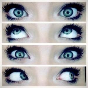 Mascara !  Eyeliner !  White Eyeshadow !  Foundation !