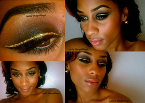 Gold & Black liner topped off with a soft smokey eye and nude lips :-) ♥ this look!