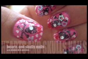 Hey guys check out my hearts and skulls Nail Tutorial !