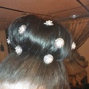 Big bun with crystal hair pins
