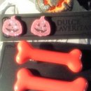 Magenta Jackolantern earrings and pin