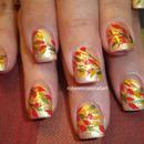 Bright Fall Leaf Nail Art