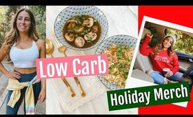 WHAT I EAT IN A DAY (low carb)// HOLIDAY SWEATER LAUNCH