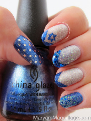 In time for Hanukkah. Details and tips: http://www.maryammaquillage.com/2012/12/a-festival-of-lights-glitter-and-nail.html