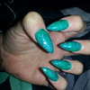 Green Blue Mix Stiletto Nails
