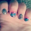 Rainbow Glitter Tiger Nails