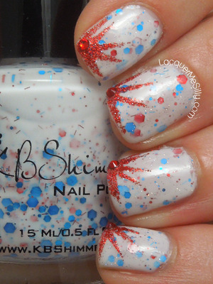 My 4th of July mani featuring KB Shimmer Pimp My Pride. For more info please visit my blog post: http://www.lacquermesilly.com/2013/07/04/pimp-my-pride-on-4th-of-july/