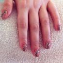 Leopard print shellac nails