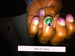 I did a purple-nude ombre with green accent finger manicure for my cousin.