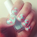Cute vintage rose nails
