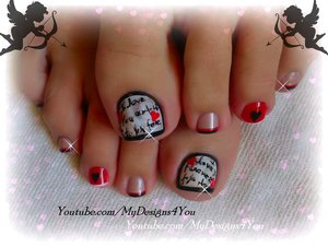 https://www.youtube.com/watch?v=sypgEJ_c6yU Valentine's Day Love Letter Toe Nail Art #mydesigns4you #nailart #nails #toenailart #toenails #pedicure