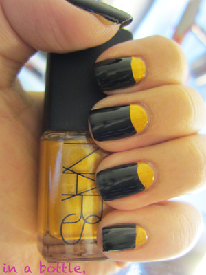 Black & Gold Half Moon nails @gemsinabottle