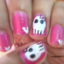 Girly Sugar Skull Nails