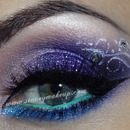Glittery purple makeup