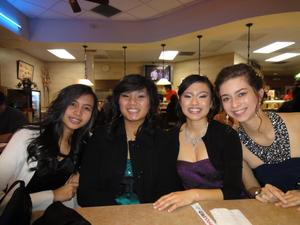 On the far right! I did my own makeup for Winter Ball, LOOKIN CLASSY!