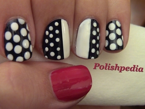 I loved doing this nail art design.  It is really easy to do and you are going to get loads of compliments.  If you have any questions on how to do this nail design, please comment on our pages reply form.  Thanks and let me know if you decide to give this design a try.  Watch Tutorial @ http://polishpedia.com/chic-polka-dot-nails-blogger-monday.html