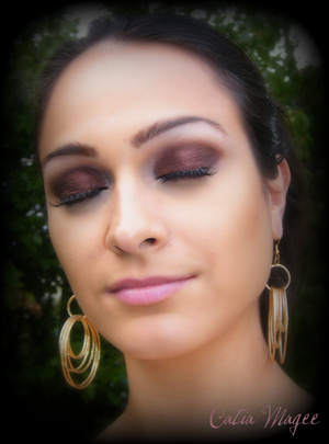 Using Pure Fusion Mineral Eyeshadows in  Mystical Fire all over the lid and blended up into the crease Lace on the tear duct and brow highlight Jewelry: by Foxxy Fashions www.foxxyfashions.com