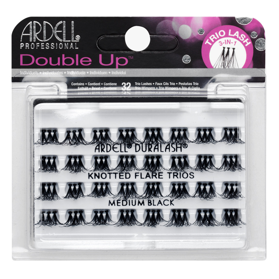 d076eea468f Ardell Double Up Trio Individuals Knotted Medium Black product smear.