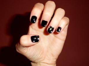 black nail with diamonds :D