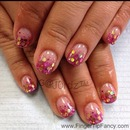Pink rainbow gold hologram nails