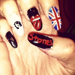 union jack flag mick Jagger lips all free handed except the face