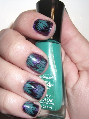 Turquoise, Black and Purple Feather Nails