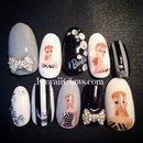 Monotone vintage Barbie gel nails!!