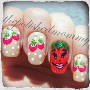 Nail Art Challenge: Strawberry and Polka Dots. http://www.thepolishedmommy.com/2013/05/call-me-msstrawberry.html  Inspired by Robin Moses Nail Art.