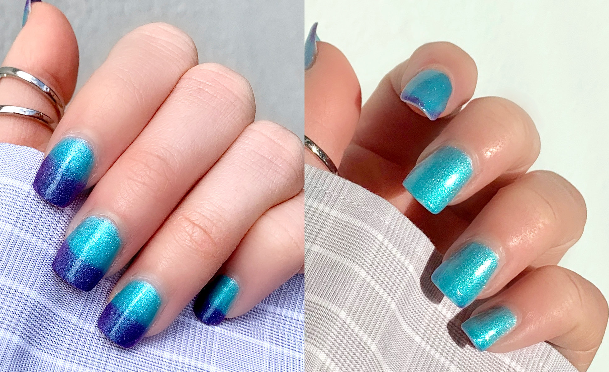 The different looks of Cirque Colors Thermal Nail Polish in Luna. The polish turns violet in cooler temperatures and turns turquoise when it is warmer. (Photo: Victoria Vallecorse)
