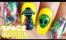 Space Invasion Nail Art Tutorial // Freehand Summer Nail Art at Home