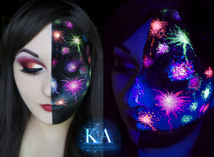 Happy Canada Day / Soon to be Independence Day! I've been wanting to do another black light look for a while now, so here it is! Not sure if many can tell, but there are little people along my jaw line watching the fireworks!