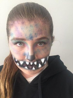 My little cousin as an Evil Mermaid. Makeup by yours truly.