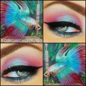 I really like colorful eye makeup look, so I came across with this picture and thought of recreating it. really fun colors to play with, used mac eyeshadows.