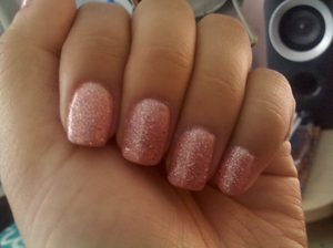 Regular polish with a gel top coat doesn't stay on as long as gel polish.  So I bought a light pink gel color and topped it with June Bride