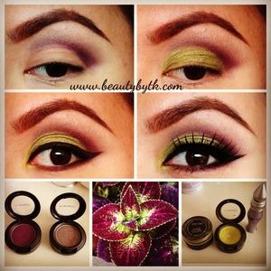 Primer: Urban Decay Primer Potion, Lid: Sweetsage fluid line under  overgrown eyeshadow, Crease: fig. 1 and clue eyeshadow
