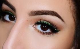 Christmas Makeup Tutorial! Green Glitter Liner & Red Lips