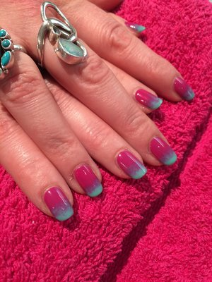 Red Carpet Manicure, gradient pink and green, gel polish