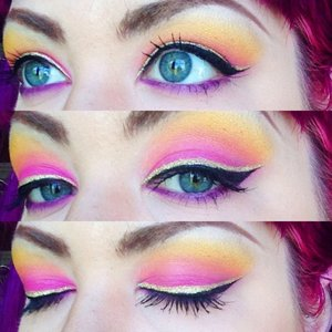 """Eyeshadow is Dottie Bee's Cosmetics in """"Stinger"""", """"Out of the Hive"""", """"The Bee's Knees"""", and """"Queen Bee""""."""