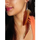 Plumeuphoria Earth Goddess - Single Feather Earring with Feather Charm