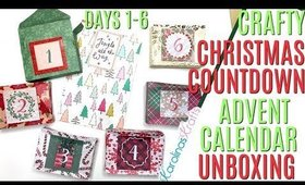 Crafty Christmas Countdown Calendar Unboxing DAYS 1-6, Crafty Countdown Swap Embellishment Swaps