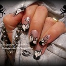 Monochrome Valentines Nail Art, How To Beads On A String