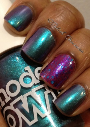 Aqua violet, a Duochrome of blue and purple with Whimsical Ideas by Pam Magical Mystery Tour http://www.polish-obsession.com/2013/01/one-year-twinsie-anniversary.html