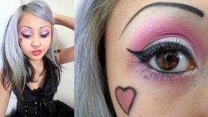 Using Platinum Blonde, Unicorn Birthday Cake, Ursula in the cheek heart, Ruby Doo on lips and the vegan gel eyeliner by Rockeresque Beauty Company!