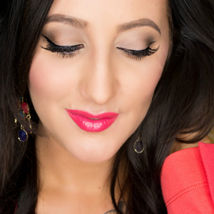 """Loving this bright coral/pink lip by Milani! Shade """"Flamingo Pose"""" Lashes are by Velour in the style """"Girl You Craazy"""""""