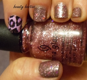 China Glaze Material Girl layered over NOPI My Empire My Rules, accent nail Nail Fraud decal