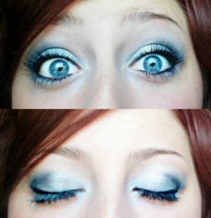 a smokey blue/silver/white look.