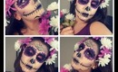 La Catrina Sugar Skull Halloween Look Morado purple