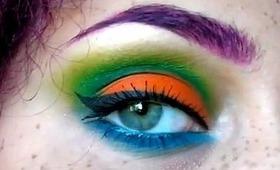 Briiight Orange, Green and Blue Makeup Tutorial