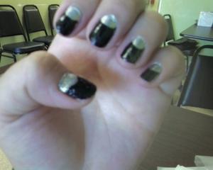 silver/ black nails
